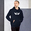 Thumbnail: Mens Unisex Hoodie EDM J to F Wings Logo Print White - Various