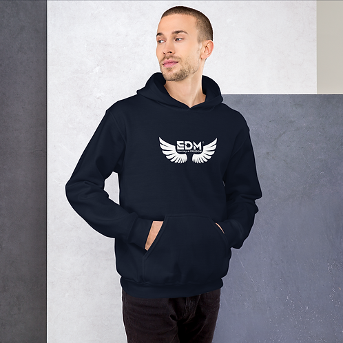 Mens Unisex Hoodie EDM J to F Wings Logo Print White - Various