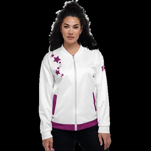 Women's Unisex Fit Bomber Jacket - EDM J to F - White Plum Star