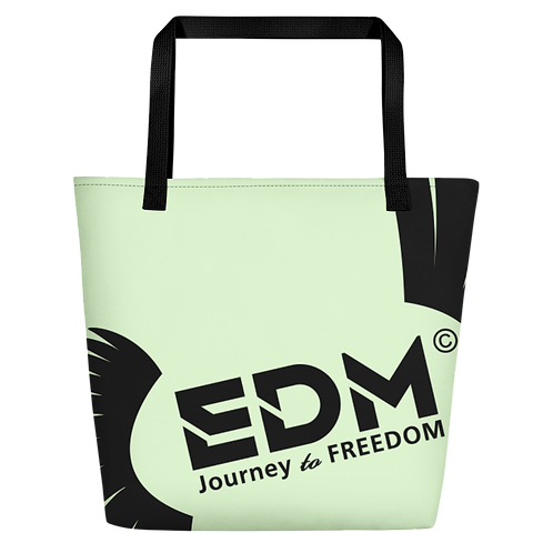 Beach Bag - Light Green EDM Journey to Freedom Print - Black