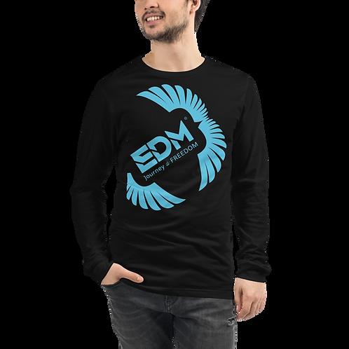 Mens Long Sleeve T-shirt - EDM J to F Square Wings Logo Blue - Black /Navy