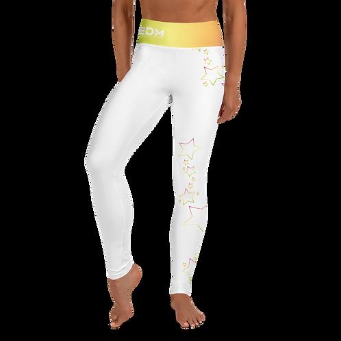 Women's Leggings Multi Rainbow Star Outline - EDM J to F White