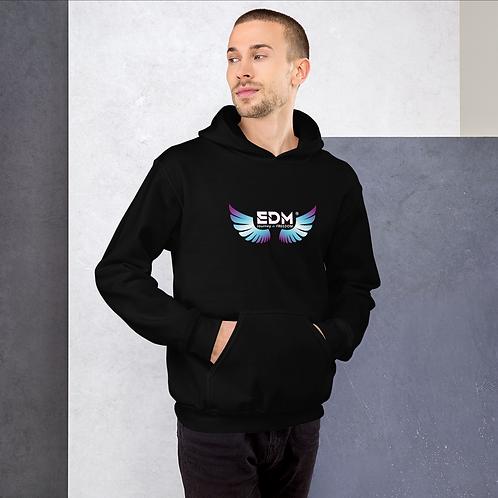 Mens Unisex Hoodie EDM J to F Wings Logo Print Multi - Black