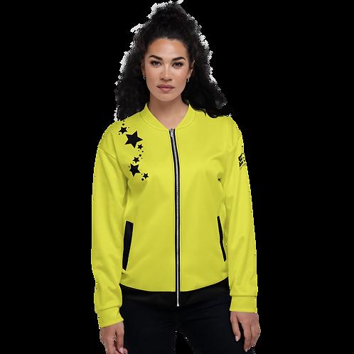 Women's Unisex Fit Bomber Jacket - EDM J to F - Lime Yellow Black Star