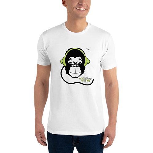Mens Fitted T-shirt - GS Music Academy Ape DJ - White
