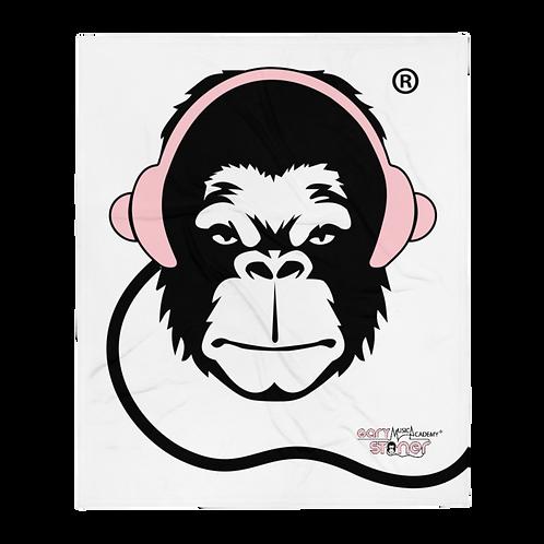 Fleece Throw Blanket - GS Music Academy Ape DJ Pink - White