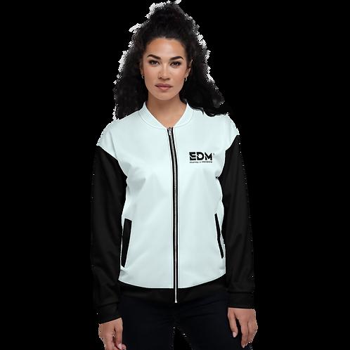 Womens Unisex Fit Bomber Jacket - EDM J to F Two-Tone Ice Blue / Black
