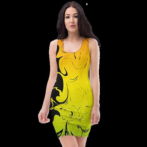 Body Con Dress - EDM J to F Yellow/Orange/Green Gradient Swirl - Black