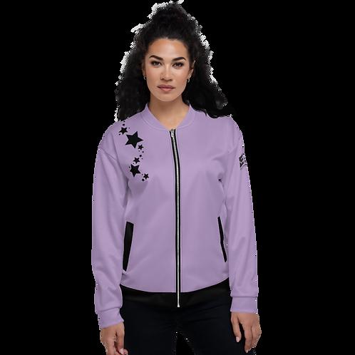 Women's Unisex Fit Bomber Jacket - EDM J to F Purple - Black Star