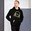 Thumbnail: Mens Unisex Hoodie EDM J to F DJ Headphones Gold - Black/Navy