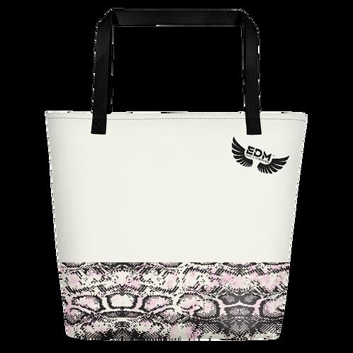 Beach Bag - EDM J to F Snake Print - Cream