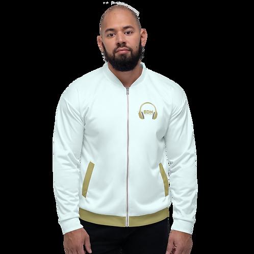 Mens Unisex Fit Bomber Jacket - EDM J to F - Ice Bue / Gold DJ Style