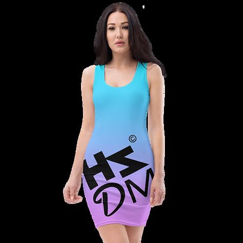 Body Con Dress - HS Design & Music Black Logo - Multi Gradient
