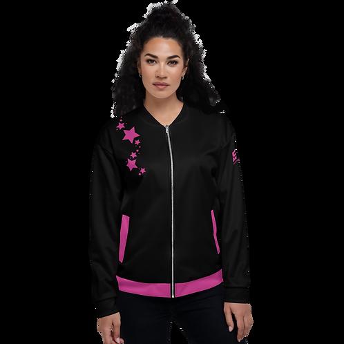 Women's Unisex Fit Bomber Jacket - EDM J to F - Black Dark Pink Star