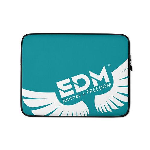 "Teal Laptop Sleeve - 13"", 15"" - EDM Journey to Freedom Print - White"