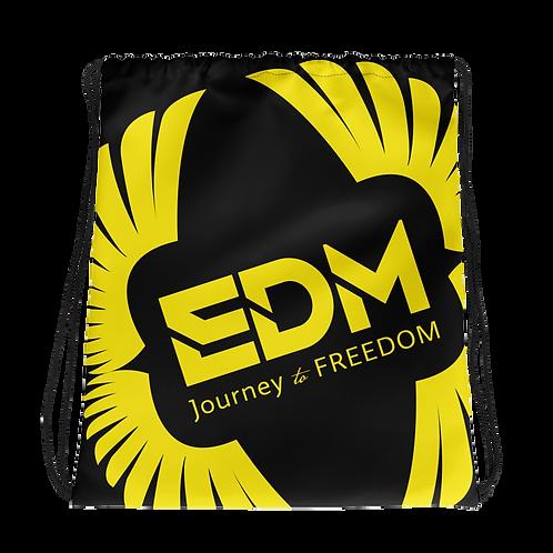 Black Drawstring Bag - EDM Journey to Freedom Large Print - Yellow