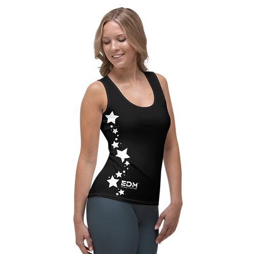 Women's Vest - EDM J to F White Star - Black