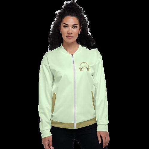 Womens Unisex Fit Bomber Jacket - EDM J to F Gold DJ Style - Mint