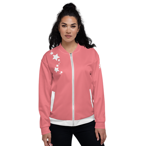 Women's Unisex Fit Bomber Jacket - EDM J to F - Coral White Star