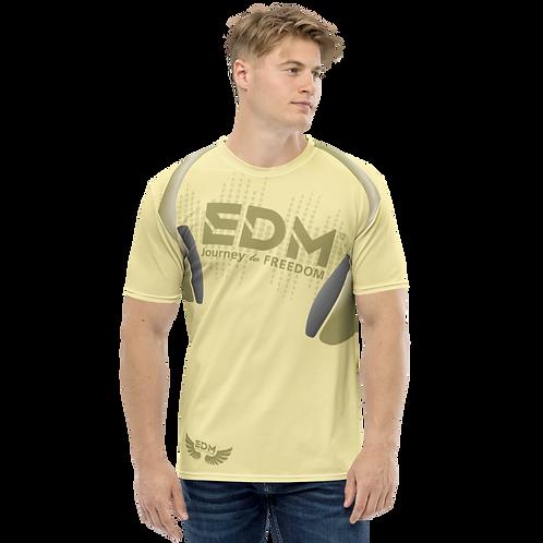 Men's T-shirt - EDM J to F Headphones - Gold/Yellow