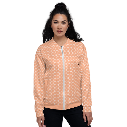 Women's Unisex Fit Bomber Jacket - EDM Journey to Freedom Pattern Peach / White