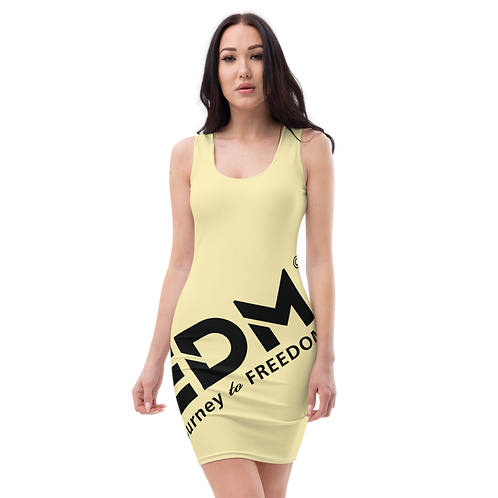 Body Con Dress - Lemon EDM Journey to Freedom No wings Print - Black