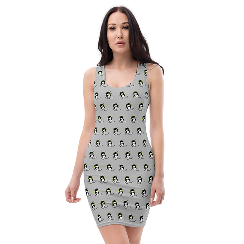 Women's Body Con Dress - GS Music Academy Ape DJ Pattern - Grey
