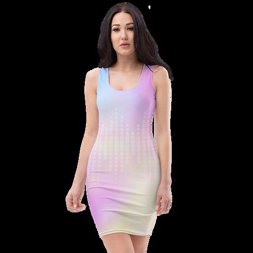 Body Con Dress - EDM J to F Sound Bars White - Tye Dye Pastels