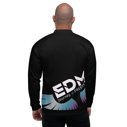 Men's Unisex Fit Bomber Jacket - EDM Journey to Freedom - Black / Multi