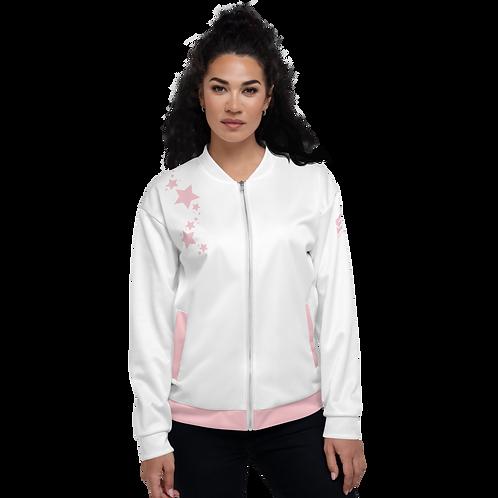 Women's Unisex Fit Bomber Jacket - EDM J to F - White Baby Pink Star