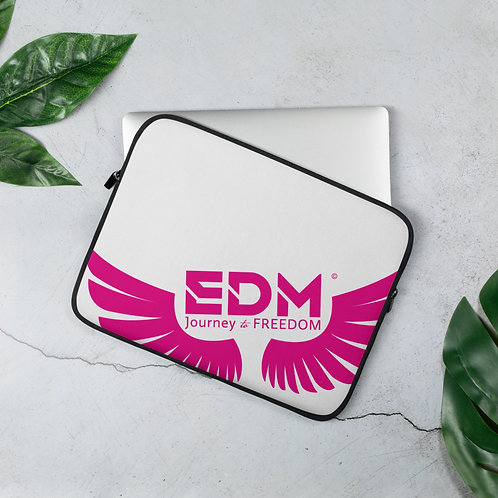 "White Laptop Sleeve - 13"", 15"" - EDM Journey to Freedom Print - Pink"