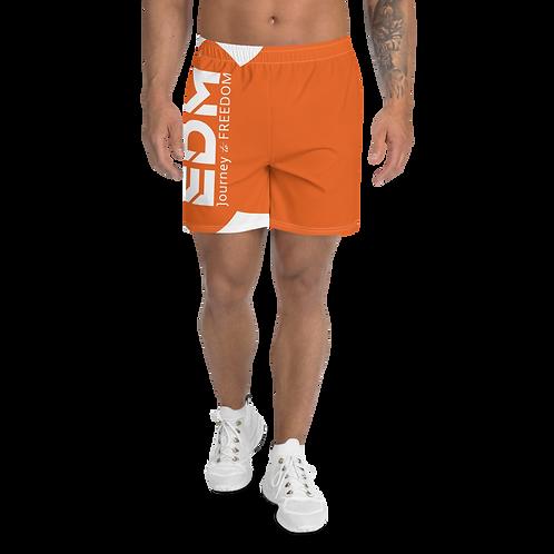 Men's Orange Long Shorts - EDM Journey to Freedom Print - White