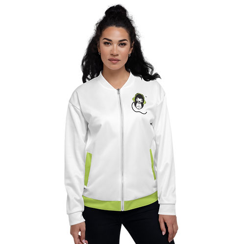 Women's Unisex Fit Bomber Jacket - GS Music Academy - White / Green