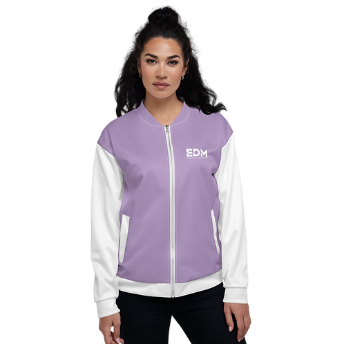 Women's Unisex Fit Bomber Jacket - EDM Journey to Freedom White / Purple