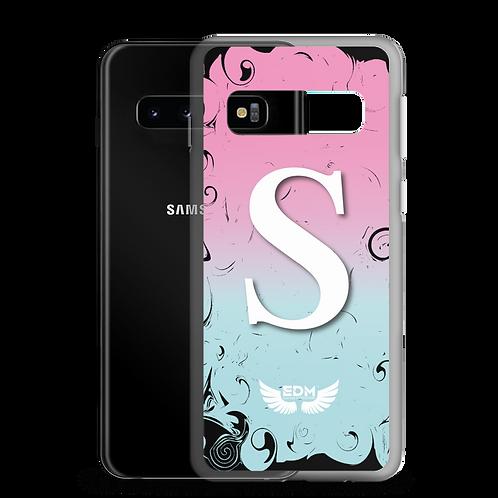 Samsung Case Black Pink White Swirl - EDM Journey to Freedom - White Initial