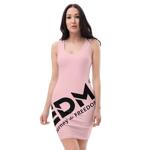 Body Con Dress - Baby Pink EDM Journey to Freedom No wings Print - Black