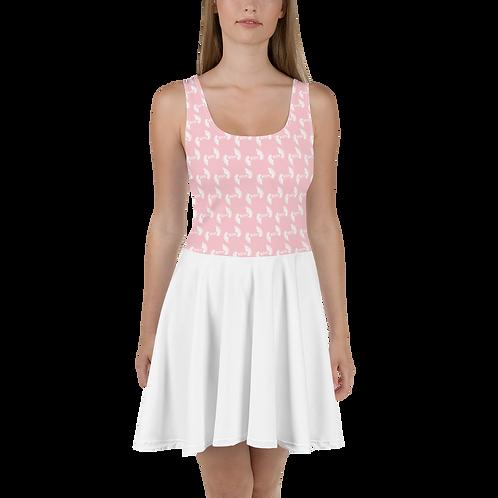 Pink / White Skater Dress EDM Journey to Freedom Top Pattern Print - White