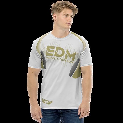 Men's T-shirt - EDM J to F Headphones - Gold/Ice Grey