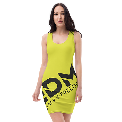 Body Con Dress - Lime EDM Journey to Freedom No wings Print - Black