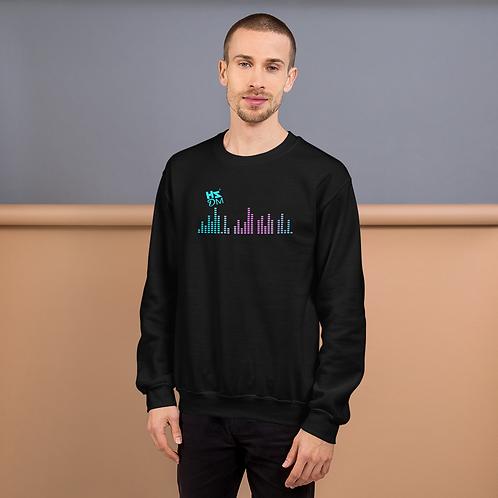 Men's Sweatshirt - HS Design & Music Multi Equalizer Blue Logo - Black