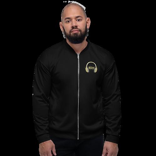 Mens Unisex Fit Bomber Jacket - EDM J to F - Black / Gold DJ Style