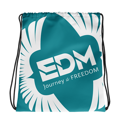 Teal Drawstring Bag - EDM Journey to Freedom Large Print - White