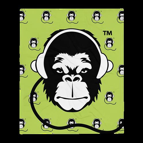 Fleece Throw Blanket - GS Music Academy Ape DJ Large & Pattern - Green