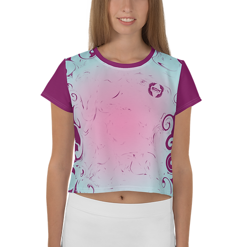 Women's Crop Top - Gradient Pink/Blue - EDM J to F Logo Plum