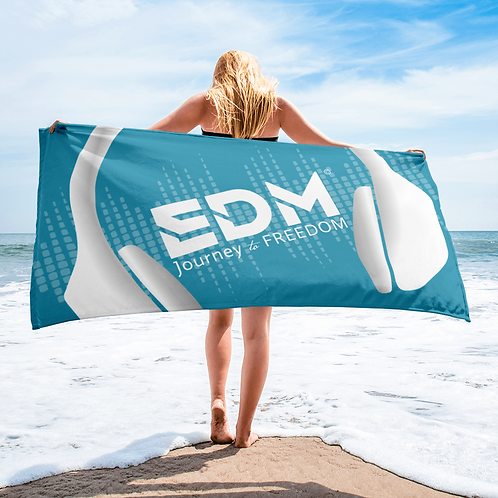 Beach Towel Pink - EDM J to F Headphones White - Teal Blue