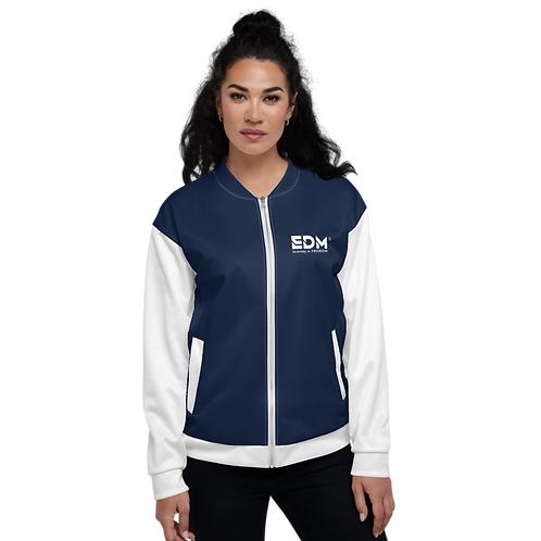 Women's Unisex Fit Bomber Jacket - EDM Journey to Freedom White / Navy