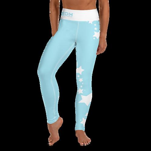 Women's Leggings White Star - EDM J to F Sky Blue