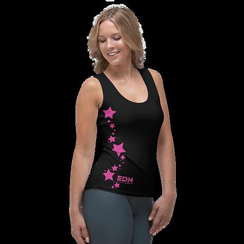 Women's Vest - EDM J to F Dark Pink Star - Black