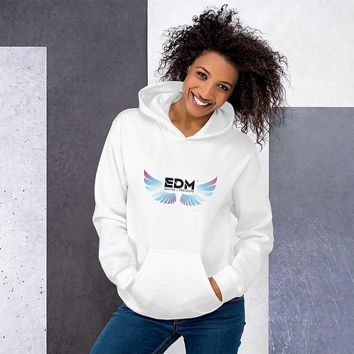 Mens Unisex Hoodie EDM J to F Wings Logo Print Multi - White