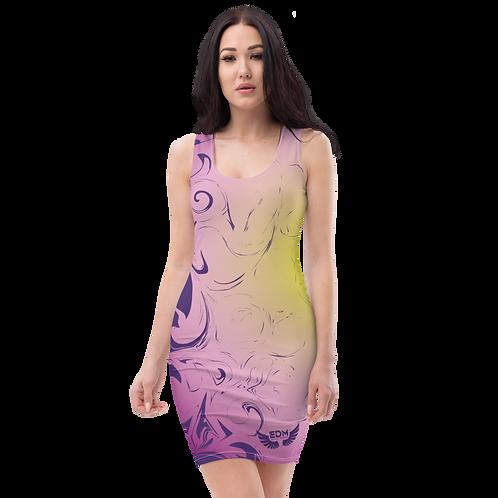 Body Con Dress - EDM J to F Purple/Yellow Circle Gradient Swirl - Dark Purple